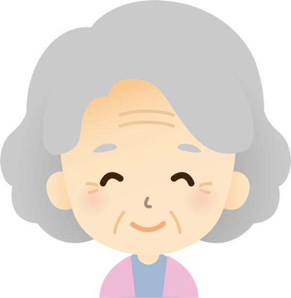 安心しているお婆さん